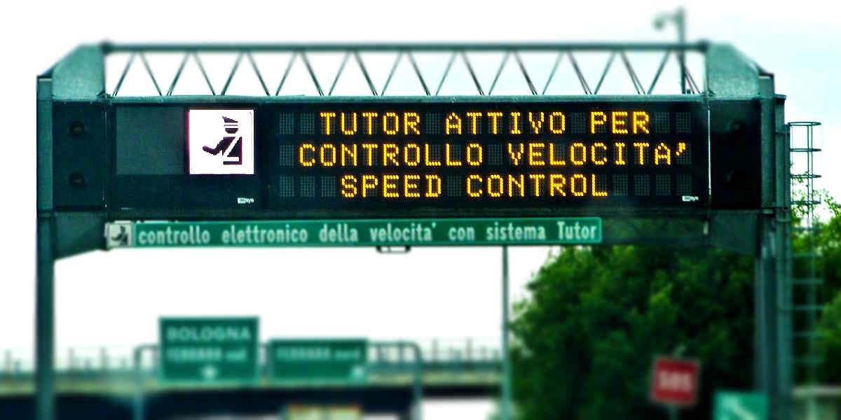 Multa per eccesso di velocità in autostrada