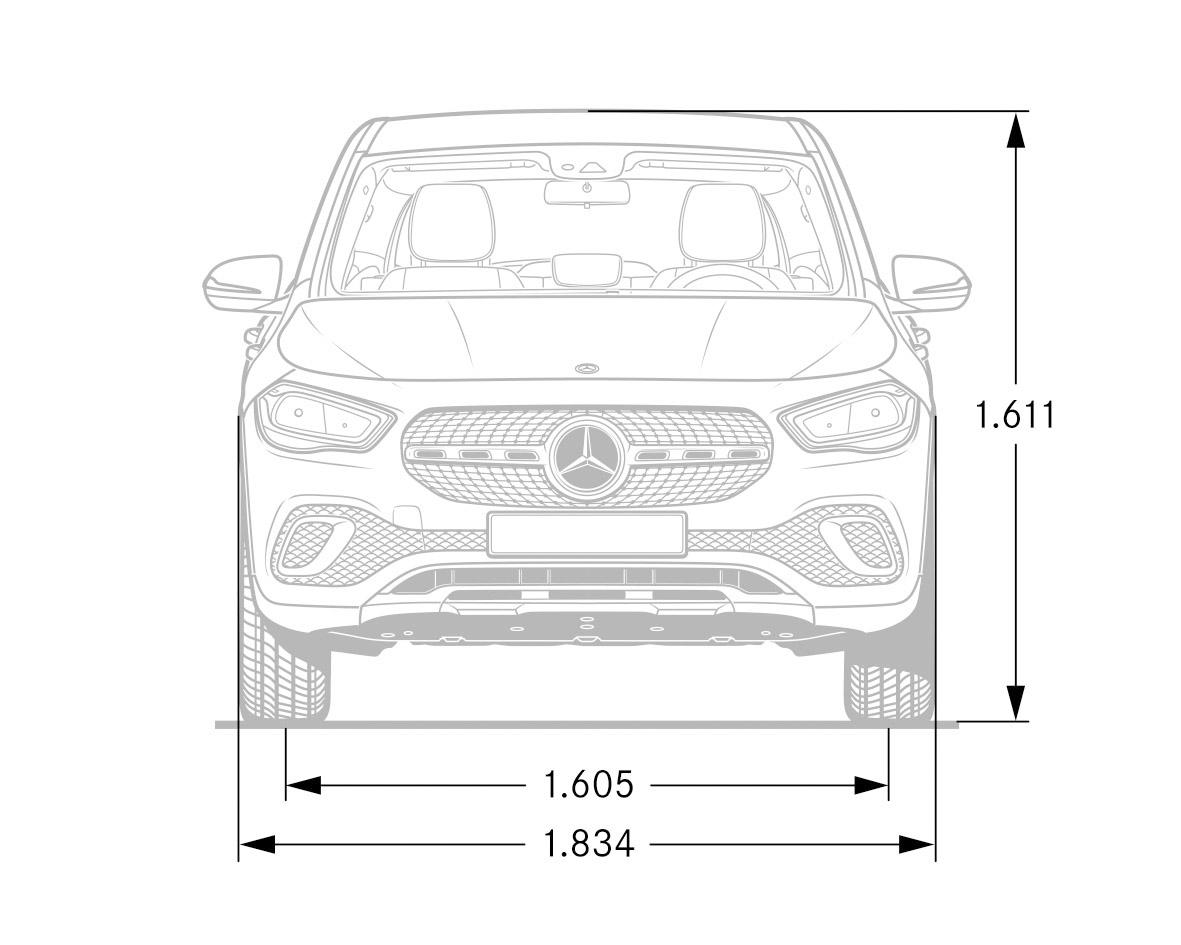 dimensioni della Mercedes GLA