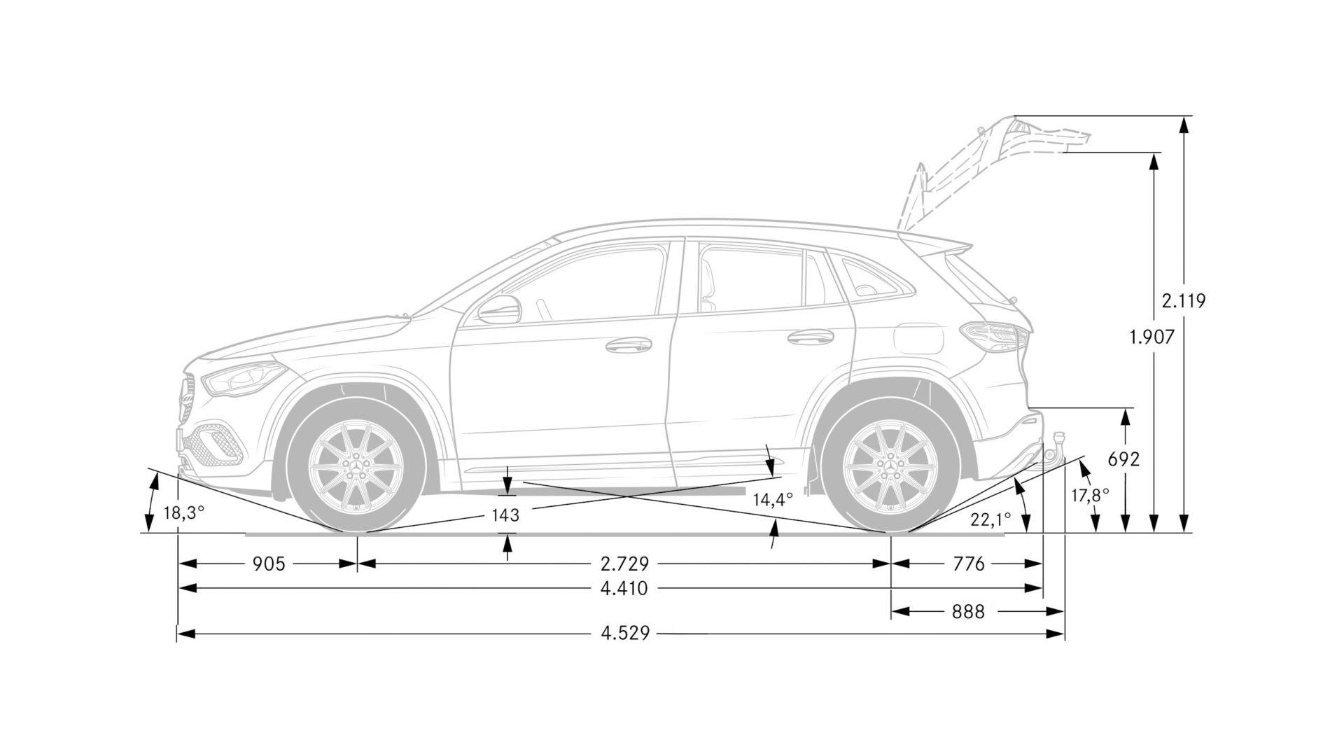 dimensioni massime della Mercedes GLA